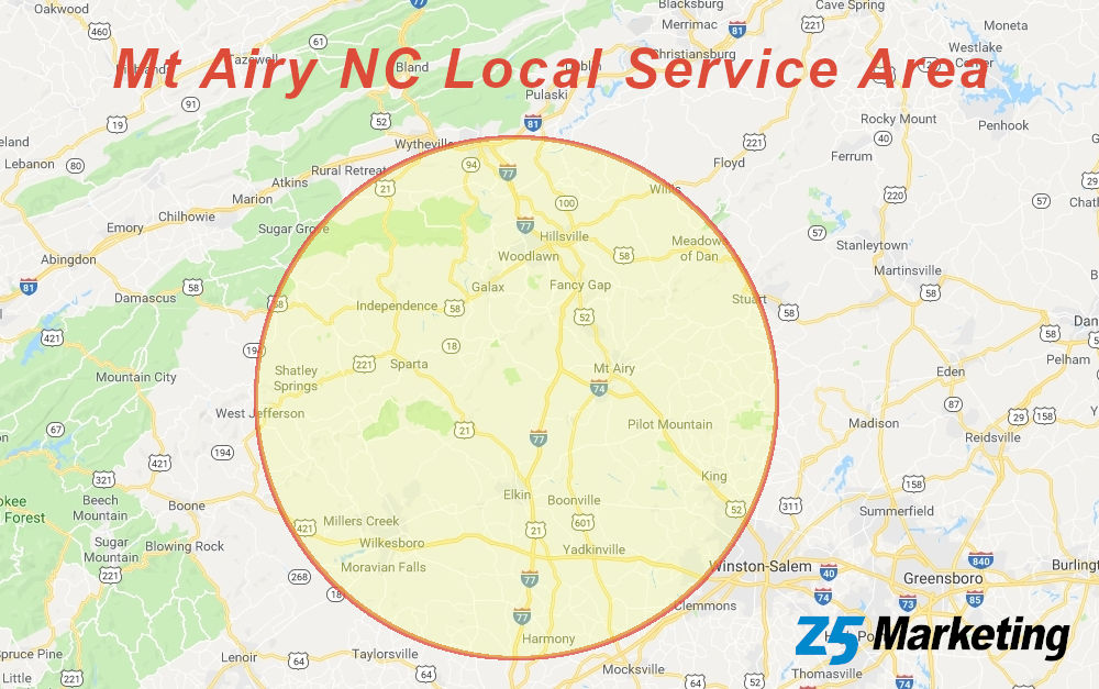 Mt Airy NC Local Service Area Map